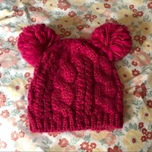 Pink two Pom urban outfitters beanie
